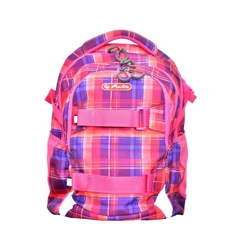 Rucsac Ergonomic 41x30x21cm, Suport De Laptop, Herlitz Wave Pink Checkers