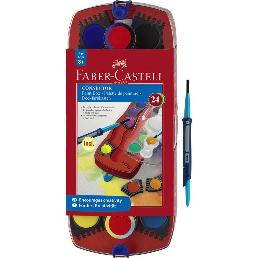 Acuarele 24 Culori + Pensula  Connector Faber-castell
