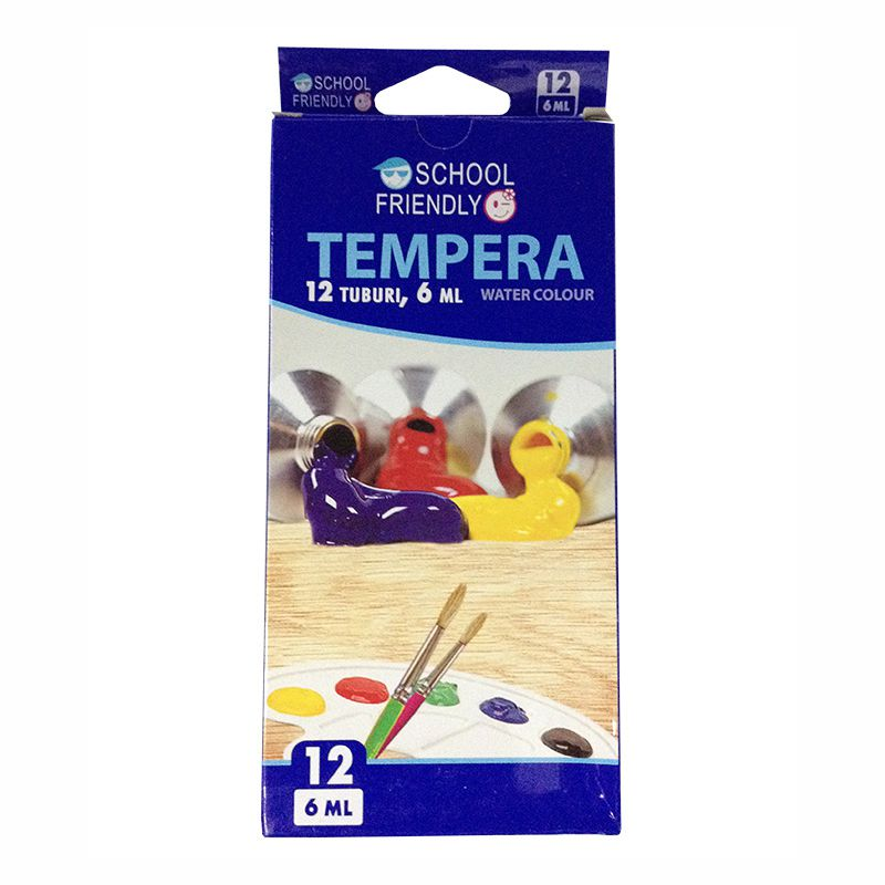 Acuarele Tempera  12 Culori Tub 6 Ml  School Friendly