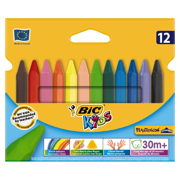 Creioane Color Cerate 12culori 90mm Plastidecor  Bic [a]