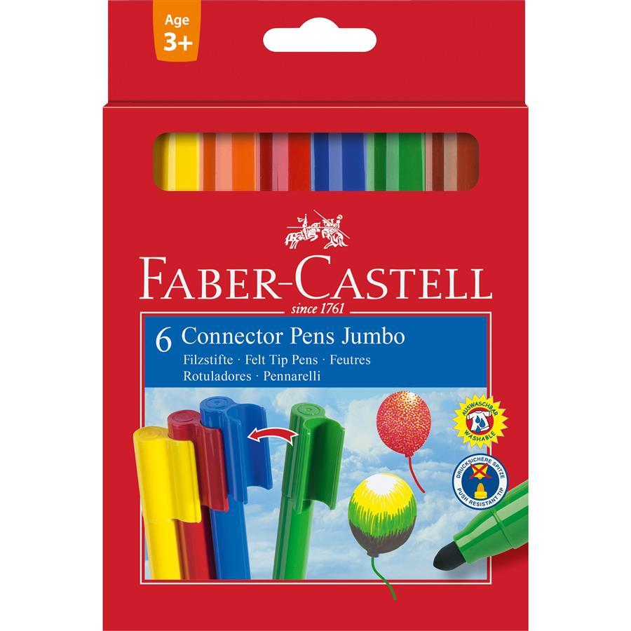 Carioci  6 Culori Connector Jumbo Faber-castell