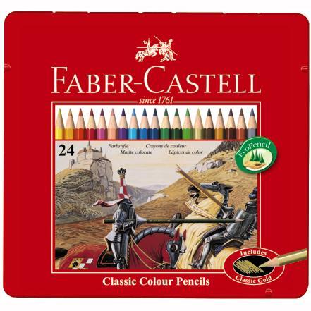 Creioane Color 24 Culori Cutie Metal  Faber-castell