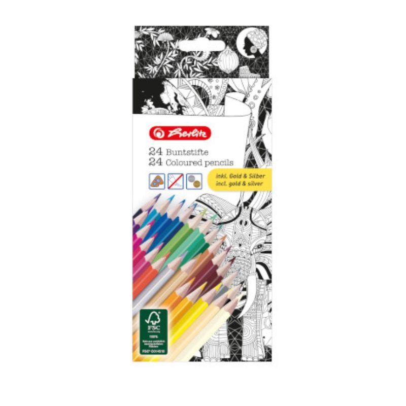 Creioane Color 24 Culori Inclusiv Auriu / Argintiu  Zentangle Herlitz