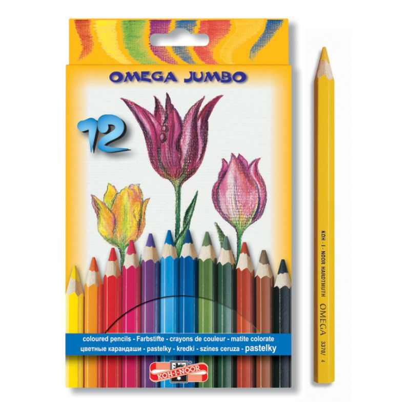 Creioane Color Groase  12 Culori Omega Jumbo Koh-i-noor