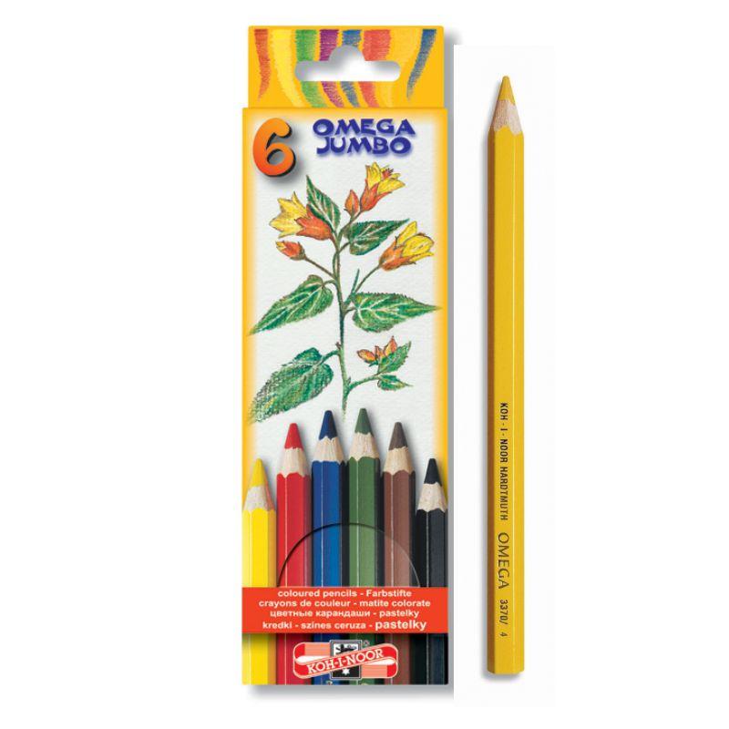 Creioane Color Groase 6 Culori Omega Jumbo Koh-i-noor