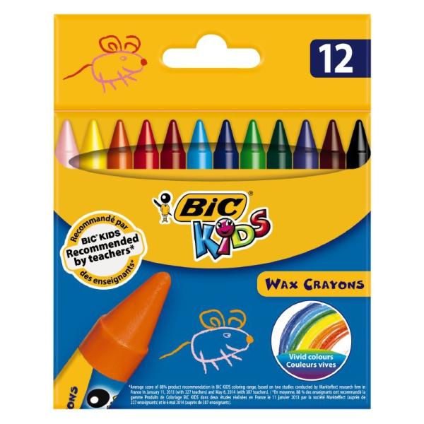 Creioane Color Cerate  12 Culori Wax Crayons Bic